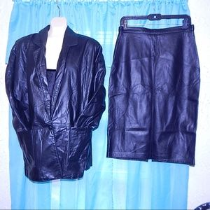 Vintage Genuine Black Leather Skirt & Jacket