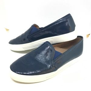 Joie blue real leather glossy slip ons loafers
