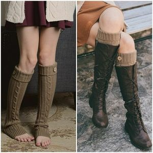 Accessories - Cable Knit Button Boot Socks - Mocha