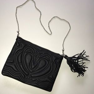 H&M HANDBAG CLUTCH FAUX LEATHER BLACK