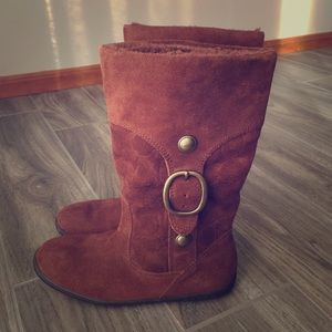 Coach 'Meyer' Signature Suede Shearling Boots