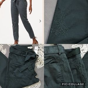 🍄LOFT🍄 Floral Embroidered Tie Waist Pants