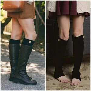 Accessories - Cable Knit Button Boot Socks - Black