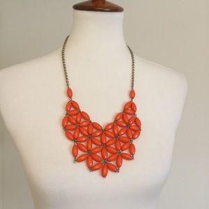 J. Crew • Orange Floral Bib Necklace