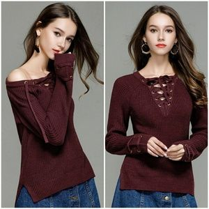 Sweaters - Wine Red Lace Up Knit Sweater