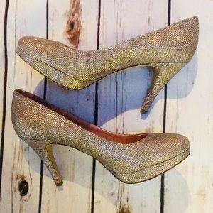 NWOB Enzo Angiolini Silver Gold Glitter Heels 10