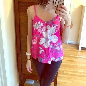 Anthropologie pink silk print tank top size s