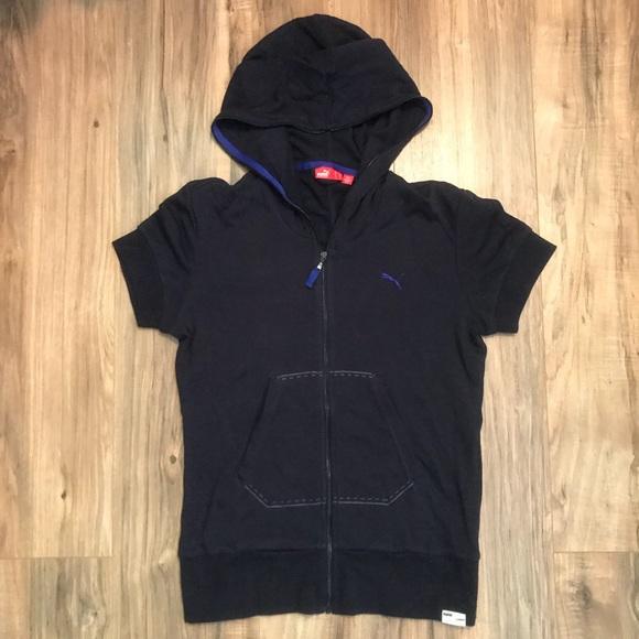 5fcc71062c84 Puma navy blue short sleeve zip up hoodie. M 5a2da36e2fd0b788b50033ea