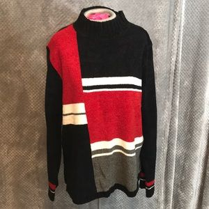 Sag harbor mock turtleneck color block sweater