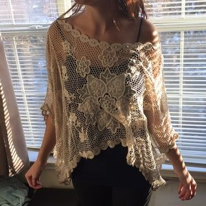 c'isa Tops - Lizard Thicket Lace Layering Piece