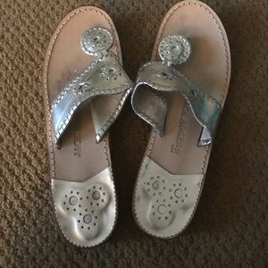 Silver Jack Rogers (flats) size 9M! Mildly worn.
