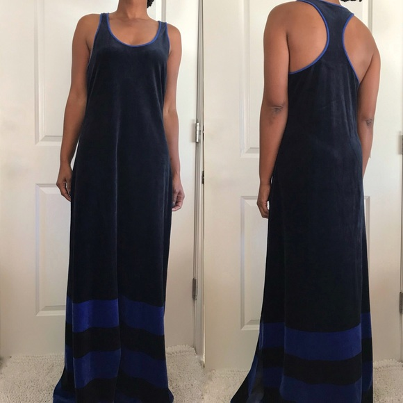 dfda68c069e Juicy Couture Dresses   Skirts - Juicy Couture Navy Velvet Maxi Striped Side  Slit