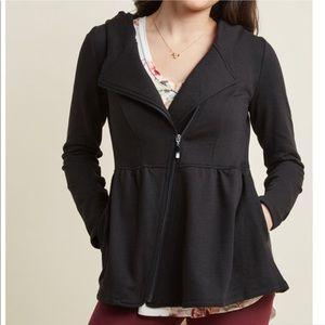 Tops - Black peplum zip up jacket hoodie *NWT*
