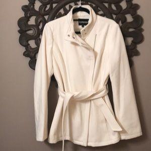 Express Asymmetrical Wool Coat Ivory/Cream Sz L