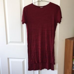 Red stretchy hi-lo top