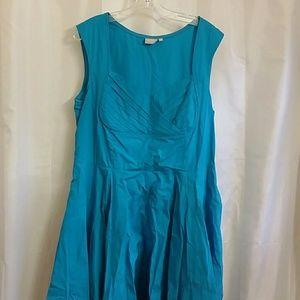 eShakti turquoise retro-style dress