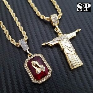 Other - Jesus Body Cross & Praying Hands Ruby Necklace set