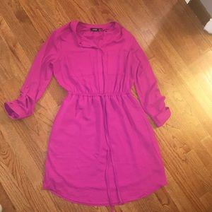 Apt. 9 Pink Shirtdress Tie Waist Pockets Size 10