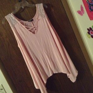2X XXL Pink Lace Up High Low Tank Top - SO COMFY!