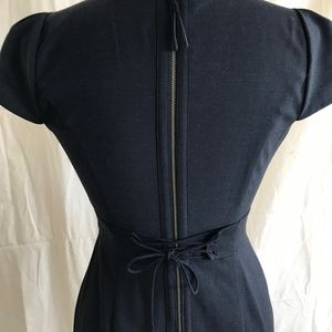 Navy Fitted Dress with flowered Neckline