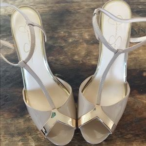Jessica Simpson strappy heels Nude&Silver 11