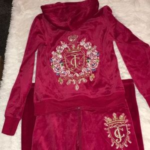 Juicy Couture Candy Apple Red Velour Track Suit