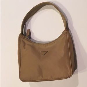 Prada Microfiber Shoulder Bag Tan