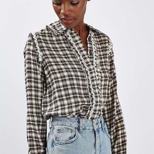 TOPSHOP PLAID, RUFFLE AND LACE TRIM TOP SZ 4