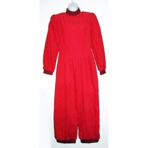 Vintage 80s Red Corduroy Jumpsuit Holiday S
