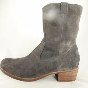 UGG Womens Rioni Gray Leather Mid Calf Boots