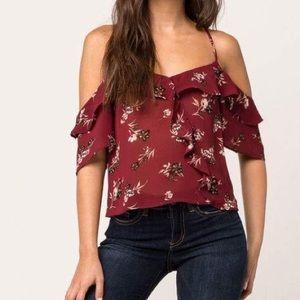 Burgundy floral ruffle women's cold shoulder top