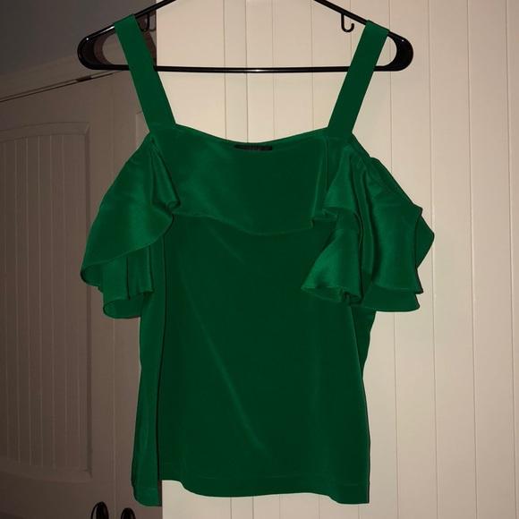 7c681f5de09 J. Crew Tops | J Crew Silk Emerald Green Off Shoulder Top Size 4 ...