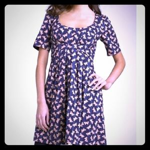 French Connection navyblue beige Butterfly Dress 4