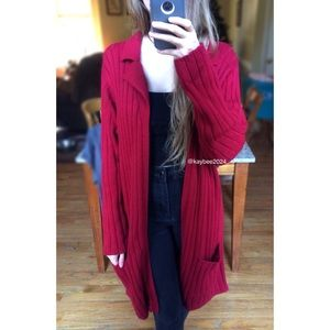 🍂 Vintage Cranberry Ribbed Knit Longline Cardigan