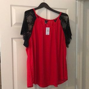 Red and Black Lace Sleeved Top