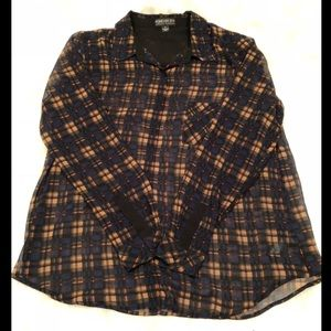 F21+ Navy and Tan Plaid Button Down Blouse Size 1X