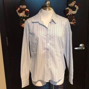 Striped Long-Sleeved Fitted Button Up Shirt