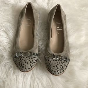 AGL Gray Suede Studded Flats