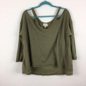 Anthro Deletta / Waffle Knit Cold Shoulder Sweater