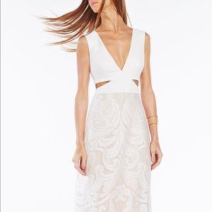 BCBGMaxAzria Marilyne Swirl Lace Cutout Gown sz 10