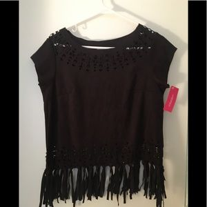 Black Suede Fringe top with cut out detail