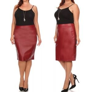 Dresses & Skirts - Plus Red Faux Leather Fitted Pencil Skirt