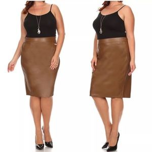 Dresses & Skirts - Plus Dark Khaki Faux Leather Fitted Pencil Skirt