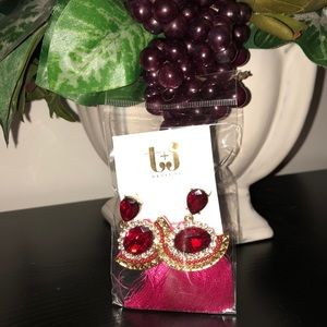 T&J Designs Red and Pink Tassel Earrings