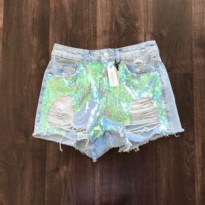 H&M Sequin Denim Shorts