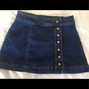 Free People Button Denim Skirt