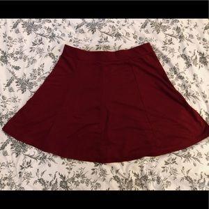 Burgundy skater style skirt