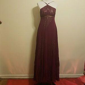 Wine Halter dress with gold Trim