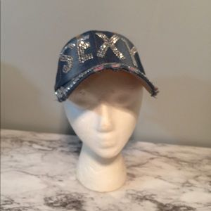 Accessories - Distressed Denim cap with Embellished crystal s