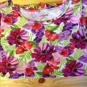 Lands End Flowered Rash Guard